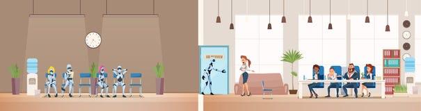 Job Interview Recruiting et robots Vecteur illustration stock