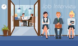 Job Interview and Recruiting. Vector Illustration. Job Interview and Recruiting. HR Agency Concept. Staff Recruitment. Human Resource. Search and Selection stock illustration