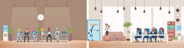 Job Interview Recruiting y robots Vector ilustración del vector