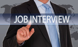 Job Interview - recruitment and hiring. Businessman with touchscreen royalty free stock photography