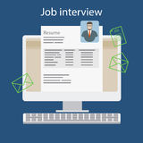 Job interview with resume on computer. Vector illustration Royalty Free Stock Image