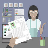Job interview with resume. Job interview with female resume. Recruitment and hiring candidate. Professional choice. Hire employee. Career in company Royalty Free Stock Photography
