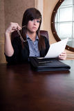 Job interview scrutiny. From disbelieving interviewer Royalty Free Stock Photos