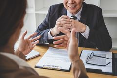 Job interview, Senior selection committee manager asking questions to applicant about work history, colloquy dream,  Skill, royalty free stock images
