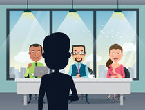 Job Interview with smiling Caucasian human resource manager, specialists and a boss in office. Talent quest audition. Flat style vector illustration Royalty Free Stock Image