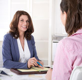 Job interview: two business woman talking Royalty Free Stock Photography