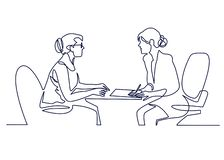 Job interview - vector modern simple one line design composition with recruiter and candidate. Continuous Line Drawing. Of Two women are talking at the table vector illustration