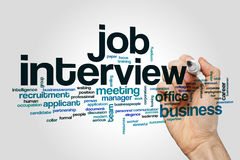 Job interview word cloud. Concept on grey background Royalty Free Stock Images