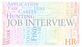Job Interview word cloud. Wordcloud made with text only royalty free illustration