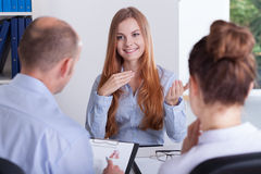 Job interview. Young beautiful women and her job interview Stock Image