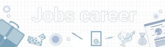 Job-Karriere-Wort auf quadratischem Hintergrund-horizontale Fahnen-persönlichem Entwicklungs-Konzept stock abbildung