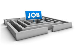 Job Labyrinth. Job concept with labyrinth and blue goal sign on white background Stock Image