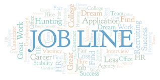 Job Line word cloud. Wordcloud made with text only stock illustration