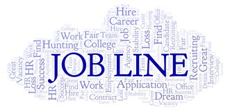 Job Line word cloud. Wordcloud made with text only royalty free illustration