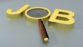 Job with magnifier. Golden word JOB made up with a magnifier, on a gray plane Royalty Free Stock Images