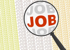 Job in magnifier Stock Image