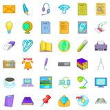 Job management icons set, cartoon style. Job management icons set. Cartoon set of 36 job management vector icons for web isolated on white background Royalty Free Stock Images