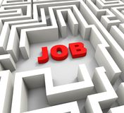 Job In Maze Showing Finding Jobs Stock Photo