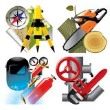 Job occupation icons. Isolated raster version of vector set of detailed job occupation icons with tools and equipment Stock Image