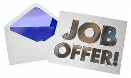 Job Offer Envelope Letter Note die Nieuwe Carrière openen Stock Fotografie