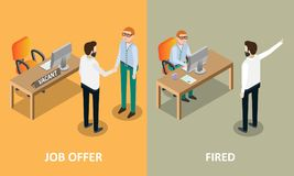 Job offer and fired vector concept design elements. Job offer and fired concept design elements, icons. Vector isometric illustration. Boss employer shaking Stock Image