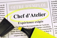 Job offer of workshop manager written in French stock illustration