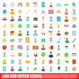 100 job offer icons set, cartoon style Royalty Free Stock Photography