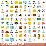 100 job offer icons set, flat style. 100 job offer icons set in flat style for any design vector illustration Stock Photos