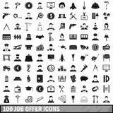 100 job offer icons set, simple style Stock Photos