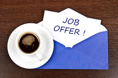 Job offer message. And coffee Royalty Free Stock Images