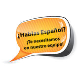Job offer for Spanish speakers Stock Image