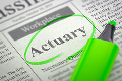 Job Opening Actuary. 3D. Stock Images