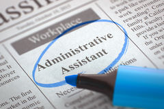 Job Opening Administrative Assistant. 3D. A Newspaper Column in the Classifieds with the Vacancy of Administrative Assistant, Circled with a Blue Marker Stock Photo
