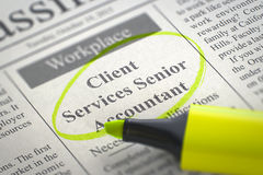 Job Opening Client Services Senior Accountant. Royalty Free Stock Photography