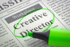 Job Opening Creative Director. 3D. Royalty Free Stock Photography