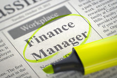Job Opening Finance Manager. 3D. Royalty Free Stock Photo