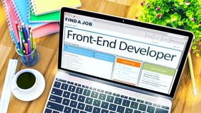 Job Opening Front-End Developer. 3D. Royalty Free Stock Photos