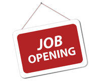 Job opening. An illustration of a sign with the text 'job opening' hanging from a nail vector illustration