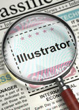 Job Opening Illustrator. 3D. Illustrator. Newspaper with the Searching Job. Column in the Newspaper with the Jobs of Illustrator. Concept of Recruitment royalty free illustration