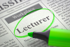 Job Opening Lecturer 3d Stock Fotografie