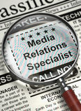 Job Opening Media Relations Specialist. 3D. Royalty Free Stock Photos