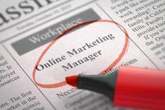 Job Opening Online Marketing Manager. 3D. Stock Photos