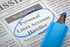 Job Opening Personal Lines Account Handler. 3D. Royalty Free Stock Photography