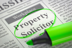 Job Opening Property Solicitor. 3D. Newspaper with Classified Advertisement of Hiring Property Solicitor. Blurred Image. Selective focus. Job Search Concept. 3D stock images