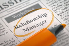 Job Opening Relationship Manager 3d royaltyfri bild