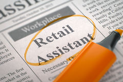 Job Opening Retail Assistant 3d Images libres de droits