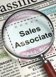 Job Opening Sales Associate. 3D. Sales Associate - Jobs in Newspaper. Sales Associate. Newspaper with the Job Vacancy. Job Seeking Concept. Selective focus. 3D royalty free stock photos