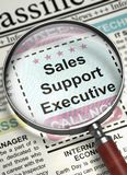 Job Opening Sales Support Executive. 3D. Sales Support Executive. Newspaper with the Job Vacancy. Sales Support Executive - Close Up View Of A Classifieds Stock Photo