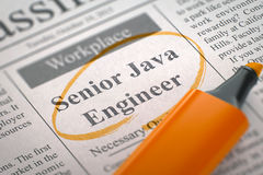 Job Opening Senior Java Engineer 3d illustration stock