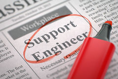Job Opening Support Engineer. 3D. Royalty Free Stock Photography